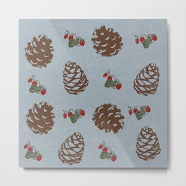 pinecones and forest berries pattern blue Metal Print