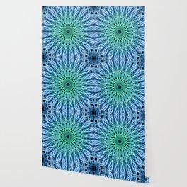 Light blue and green mandala Wallpaper
