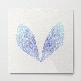 Periwinkle Ombré Cicada Wings Metal Print