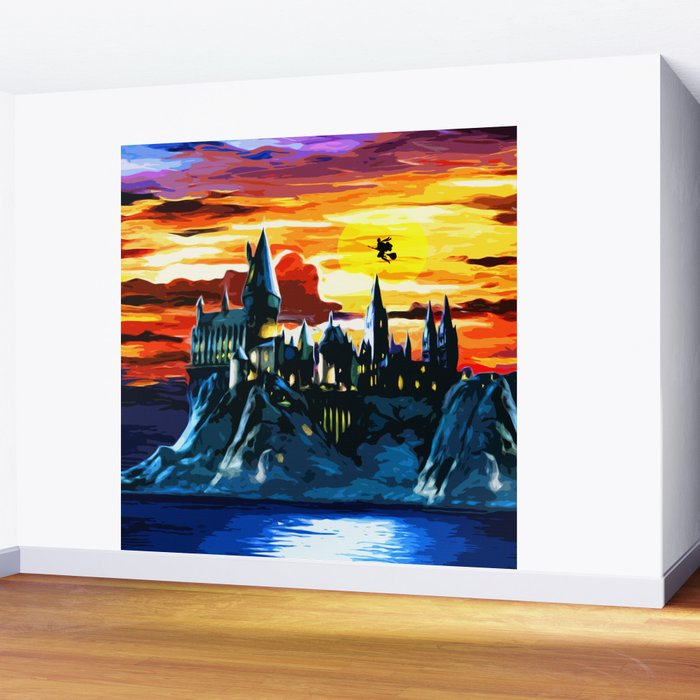 Hogwarts Castle At Sunset Wall Mural by vixion Society6