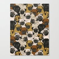 pugs Canvas Prints featuring Social Pugz by Huebucket