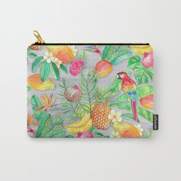 Tropical Paradise Fruit & Parrot Pattern Carry-All Pouch