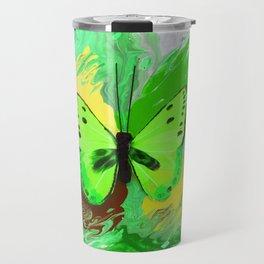 Neon Green Butterfly Travel Mug