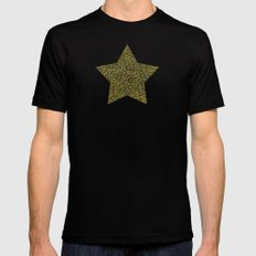 Black and faux gold swirls doodles MEDIUM Black Mens Fitted Tee