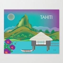 Tahiti, French Polynesia - Skyline Illustration by Loose Petals Canvas Print