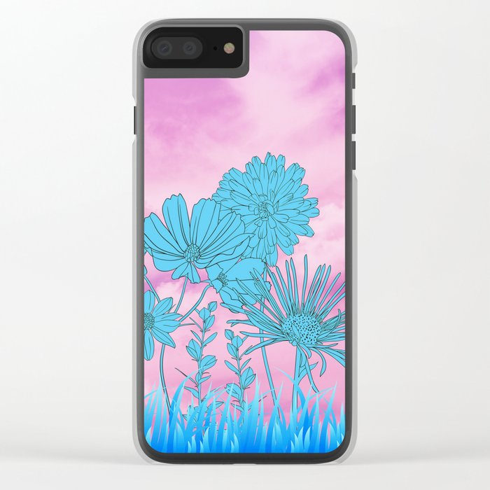 Flowers in grass Clear iPhone Case