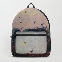 Bird Silhouettes On The Fields / Glitch Utopia Backpack