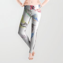 Birds of America- pets and wild birds in stained glass Leggings