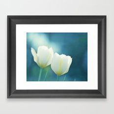 Aqua Blue Tulip Photography, Teal Turquoise White Flowers, Floral Nature Framed Art Print