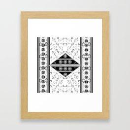 vintage black tile mandalas Framed Art Print