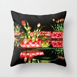 Chinese flower lantern pond at night Throw Pillow