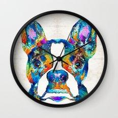 Colorful Boston Terrier Dog Pop Art - Sharon Cummings Wall Clock