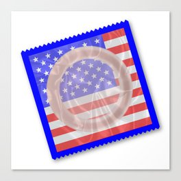 Stars And Stripes Condom Canvas Print