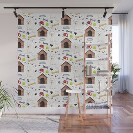 Japanesse Spitz Dog Half Drop Repeat Pattern Wall Mural