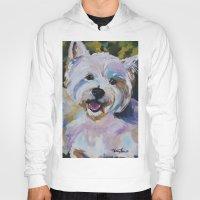 westie Hoodies featuring Westie Impressionism Pet Portrait Larsen 1 by Karren Garces Pet Art