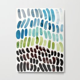 Blue & Green Colorful Aquatic Watercolor Organic Pattern Natural Art Abstract Mid Century Modern Pla Metal Print