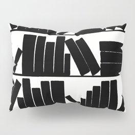 Library Book Shelves, black and white Pillow Sham