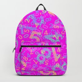 Modern Design with random colorful numbers with shadow edges on a pink background Backpack