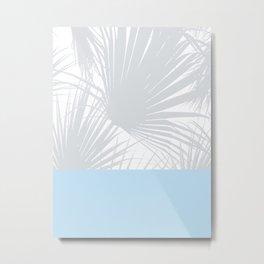 Tropical Pastel Grey Palm Leaves on Soft Blue Metal Print