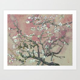 Almond Blossom - Vincent Van Gogh (pink pastel and cream) Art Print