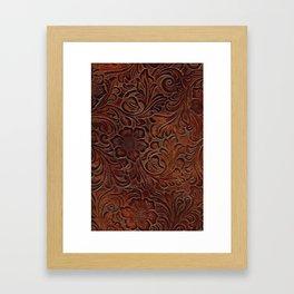 Burnished Rich Brown Tooled Leather Framed Art Print