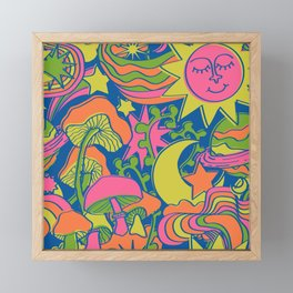 Psychedelic Daydream in Neon + Blue Framed Mini Art Print
