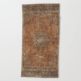 Antique Persian Mustard Rug Beach Towel