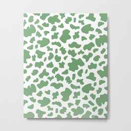 Cow Print in Forest Green Metal Print
