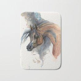 Arabian horse portrait watercolor art Bath Mat