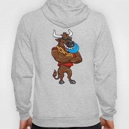 Happy cartoon bull with a blue Frisbee Hoody