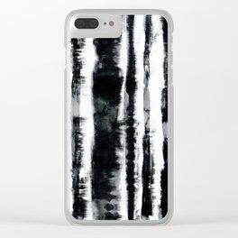 Tie-Dye Shibori Stripe BW Clear iPhone Case