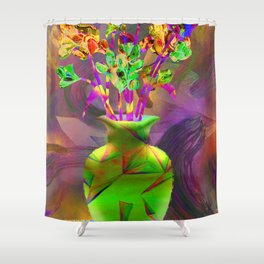 Remixed abstractions into digital still life Shower Curtain