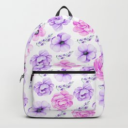 Modern hand painted purple pink watercolor floral pattern Backpack