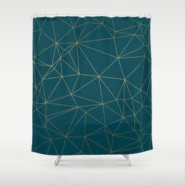 Benjamin Moore Hidden Sapphire Gold Geometric Pattern Shower Curtain
