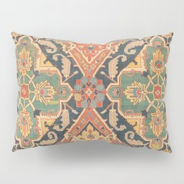 Geometric Leaves VIII // 18th Century Distressed Red Blue Green Colorful Ornate Accent Rug Pattern Pillow Sham