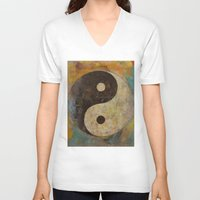 yin yang V-neck T-shirts featuring Yin Yang by Michael Creese