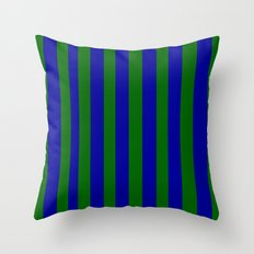 Green and Blue Stripes Throw Pillow