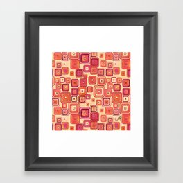 Watercolour Squares Red Amanya Design Framed Art Print