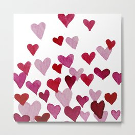 Valentine's Day Watercolor Hearts - pink Metal Print