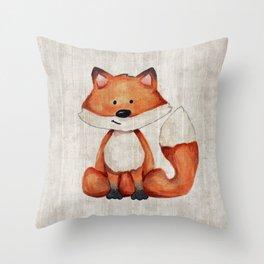 Little Fox, Baby Fox, Baby Animals, Forest Critters, Woodland Animals, Nursery Art Throw Pillow