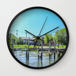 An Old Dock in the Historic Harbor Wall Clock