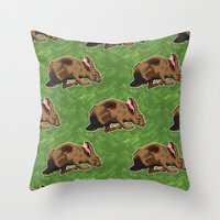 hare Throw Pillows featuring Hare by Skekfaer