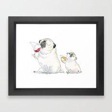 The Sommeliette - Wine and Pugs Art Framed Art Print