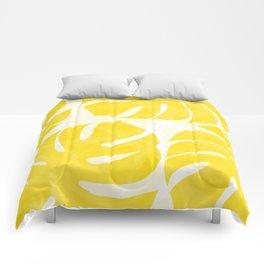 Mellow Yellow Monstera Leaves White Background #decor #society6 #buyart Comforters