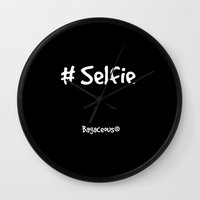 selfie Wall Clocks featuring Selfie by Louisa Catharine Photography And Art