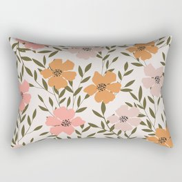 70s Floral Theme Rectangular Pillow