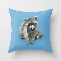 racoon Throw Pillows featuring Racoon. by Diana D'Achille