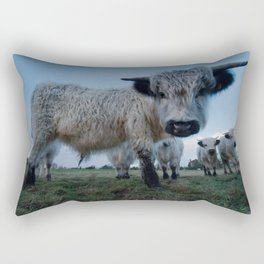 Inquisitive White High Park Cow Rectangular Pillow