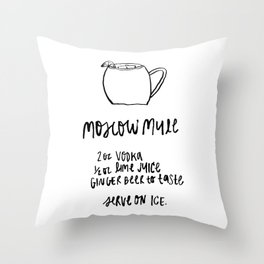Moscow Mule Cocktail Throw Pillow