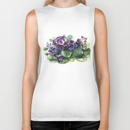Senpolia viola violet flowers watercolor Biker Tank